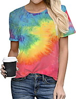cheap -Women's Tie Dye Rainbow Print Loose T-shirt Daily Wine / Blue / Red / Yellow / Orange / Rainbow / Gray / Light Blue