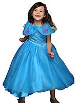 cheap -Princess Cinderella Anna Dress Flower Girl Dress Girls' Movie Cosplay A-Line Slip Blue Dress Children's Day Masquerade Tulle Polyester