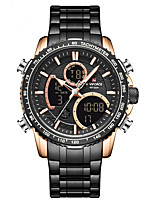 cheap -NAVIFORCE Men's Steel Band Watches Japanese Quartz Modern Style Sporty Stainless Steel Black / Silver / Brown 30 m Calendar / date / day Chronograph Alarm Clock Analog - Digital Outdoor Army - Black