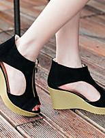 cheap -Women's Sandals Wedge Sandals Spring & Summer Wedge Heel Round Toe Daily Suede Almond / Black