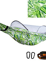 cheap -Camping Hammock with Pop Up Mosquito Net Outdoor Portable Breathable Anti-Mosquito Ultra Light (UL) Foldable Parachute Nylon with Carabiners and Tree Straps for 2 person Camping / Hiking Hunting