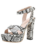 cheap -Women's Sandals Spring & Summer Chunky Heel Open Toe Classic Sexy Party & Evening Buckle Snake PU Black / Yellow / Red / Animal Print