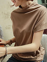 cheap -Women's Solid Colored Loose T-shirt Daily Wine / White / Black / Blue / Khaki / Brown