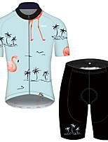 Недорогие -21Grams Муж. С короткими рукавами Велокофты и велошорты Синий Фламинго Цветочные ботанический Велоспорт Устойчивость к УФ Быстровысыхающий Виды спорта Фламинго Горные велосипеды Шоссейные велосипеды