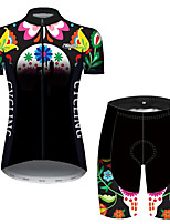 cheap -21Grams Women's Short Sleeve Cycling Jersey with Shorts Black / Green Bike Breathable Quick Dry Sports Patterned Mountain Bike MTB Road Bike Cycling Clothing Apparel / Micro-elastic