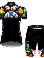 Недорогие -21Grams Жен. С короткими рукавами Велокофты и велошорты Черный / зеленый Велоспорт Дышащий Быстровысыхающий Виды спорта С узором Горные велосипеды Шоссейные велосипеды Одежда / Слабоэластичная