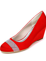 cheap -Women's Wedding Shoes 2020 Spring / Summer Wedge Heel Round Toe Sweet Minimalism Wedding Party & Evening Rhinestone Solid Colored Satin White / Black / Purple
