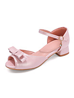 cheap -Girls' Flower Girl Shoes PU Sandals Block Heel Sandals Big Kids(7years +) Bowknot / Sparkling Glitter / Buckle White / Pink Summer / Party & Evening