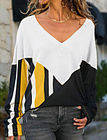 cheap -Women's Color Block Loose T-shirt Daily Going out V Neck White / Blue / Purple / Red / Yellow