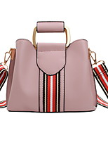 cheap -Women's Zipper PU Top Handle Bag Leather Bags Color Block Black / Red / Blushing Pink