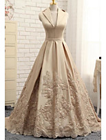 cheap -A-Line Elegant Luxurious Engagement Formal Evening Dress V Neck Sleeveless Sweep / Brush Train Satin with Sash / Ribbon Embroidery 2020