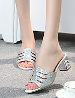 cheap -Women's Sandals 2020 Summer Pumps Open Toe Casual Daily Home Rhinestone Faux Leather Gold / Silver