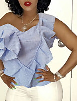 cheap -Women's Solid Colored Layered Ruffle Slim Blouse Daily One Shoulder Light Blue