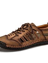 cheap -Men's Summer Casual Daily Sandals Walking Shoes Microfiber Breathable Black / Yellow / Khaki
