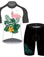 Недорогие -21Grams Муж. С короткими рукавами Велокофты и велошорты Серый+Белый Фламинго Цветочные ботанический Велоспорт Устойчивость к УФ Быстровысыхающий Виды спорта Фламинго / Эластичная / Горные велосипеды