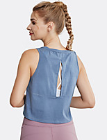 cheap -Women's Yoga Top Blouse Cut Out Solid Color White Blue Elastane Running Fitness Gym Workout Vest / Gilet Top Sleeveless Sport Activewear Breathable Comfort Quick Dry Stretchy