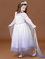 cheap -Princess Elsa Dress Flower Girl Dress Girls' Movie Cosplay A-Line Slip White Dress Children's Day Masquerade Tulle Polyester