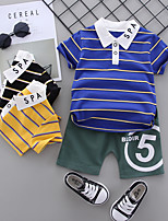 cheap -Toddler Boys' Active Basic School Family Gathering Black & Gray Striped Geometric Print Short Sleeve Regular Regular Clothing Set Black