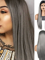 cheap -Synthetic Lace Front Wig Straight Middle Part Lace Front Wig Ombre Long Ombre Grey Synthetic Hair 18-26 inch Women's Cosplay Soft Adjustable Gray Ombre