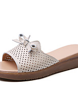 cheap -Women's Slippers & Flip-Flops Spring & Summer Flat Heel Open Toe Daily Outdoor Leather Black / Yellow / Beige