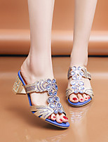 cheap -Women's Sandals 2020 Summer Pumps Open Toe Casual Daily Home Rhinestone Faux Leather Black / Gold / Blue