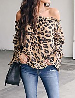cheap -Women's Leopard Layered Print T-shirt Daily Brown
