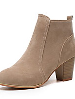 cheap -Women's Boots Fall / Winter Block Heel Pointed Toe Daily Suede Mid-Calf Boots Black / Red / Khaki