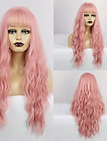 cheap -Synthetic Wig Wavy Matte Neat Bang Wig Long Pink+Red Synthetic Hair 28 inch Women's Fashionable Design curling Pink
