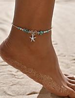 Недорогие -Жен. Зеленый лодыжке браслет Богемный Ножной браслет Бижутерия Светло-синий Назначение Повседневные