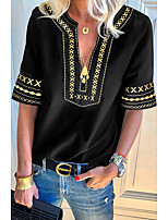 cheap -Women's Geometric Patchwork Print T-shirt Daily V Neck Black / Blue / Green