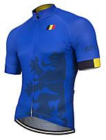 Недорогие -21Grams Муж. С короткими рукавами Велокофты Полиэстер Синий Belgium Флаги Велоспорт Джерси Верхняя часть Горные велосипеды Шоссейные велосипеды Устойчивость к УФ Дышащий Быстровысыхающий Виды спорта
