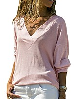 cheap -Women's Solid Colored T-shirt Daily V Neck White / Black / Blue / Blushing Pink / Green / Gray