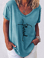 cheap -Women's Letter Loose T-shirt - Cotton Daily V Neck White / Black / Blue / Blushing Pink / Army Green / Gray