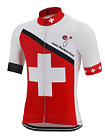 cheap -21Grams Men's Short Sleeve Cycling Jersey Polyester Red / White Switzerland National Flag Bike Jersey Top Mountain Bike MTB Road Bike Cycling UV Resistant Breathable Quick Dry Sports Clothing Apparel