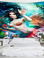 cheap -Mermaid Digital Printed Tapestry Decor Wall Art Tablecloths Bedspread Picnic Blanket Beach Throw Tapestries Colorful Bedroom Hall Dorm Living Room Hanging