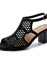 cheap -Women's Sandals Summer Chunky Heel Peep Toe Daily PU Black / Red / Gold