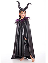 cheap -Maleficent Dress Cloak Flower Girl Dress Girls' Movie Cosplay A-Line Slip Black Dress Cloak Headwear Children's Day Masquerade Polyester