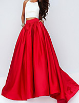 cheap -Two Piece Color Block Minimalist Engagement Formal Evening Dress Halter Neck Sleeveless Floor Length Satin with Pleats 2020