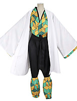 cheap -Inspired by Demon Slayer: Kimetsu no Yaiba Kamado Tanjirou Anime Cosplay Costumes Japanese Cosplay Suits Coat Top Pants For Men's / Waist Belt