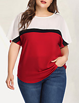 cheap -Women's Plus Size Color Block Print Blouse Basic Punk & Gothic Daily Going out Red