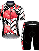 cheap -21Grams Men's Short Sleeve Cycling Jersey with Shorts Black / Red Flamingo Floral Botanical Bike UV Resistant Quick Dry Sports Flamingo Mountain Bike MTB Road Bike Cycling Clothing Apparel / Stretchy