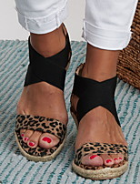 cheap -Women's Sandals Wedge Sandals Summer Wedge Heel Open Toe Daily PU Almond / Black / Animal Print