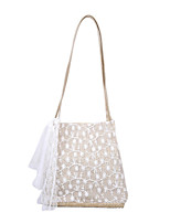 cheap -Women's Polyester / Straw Top Handle Bag 2020 Solid Color White / Khaki / Straw Bag / Fall & Winter