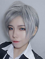 cheap -Synthetic Wig kinky Straight Pixie Cut Wig Short Silver grey Natural Black Synthetic Hair 12 inch Women's Simple Fashionable Design Classic Silver Black