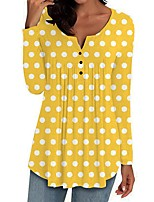 cheap -Women's Polka Dot T-shirt Daily V Neck Red / Yellow / Green / Light gray / Dark Gray / Light Blue