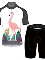 Недорогие -21Grams Муж. С короткими рукавами Велокофты и велошорты Красный / Белый Фламинго Цветочные ботанический Велоспорт Устойчивость к УФ Быстровысыхающий Виды спорта Фламинго / Эластичная