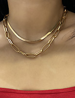 cheap -Women's Choker Necklace Chain Necklace Necklace Chunky XOXO Vertical / Gold bar Precious Simple Punk European Trendy Gold Plated Chrome Gold 35+10 cm Necklace Jewelry For Party Evening Street