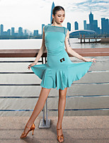cheap -Latin Dance Dress Ruching Split Joint Women's Performance Sleeveless Modal Tulle
