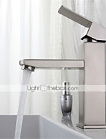 cheap -Stainless steel washbasin faucet hot and cold drawing square single hole washbasin mixing faucet