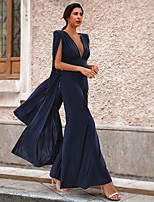 cheap -Jumpsuits Elegant Sexy Wedding Guest Formal Evening Dress V Neck Sleeveless Floor Length Spandex with Sleek 2020
